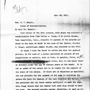 Hon. James L. Davenport's Letter to Hon. S.W. McCall