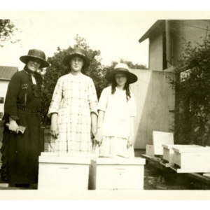 Miss Dyer and two girls with their beehives
