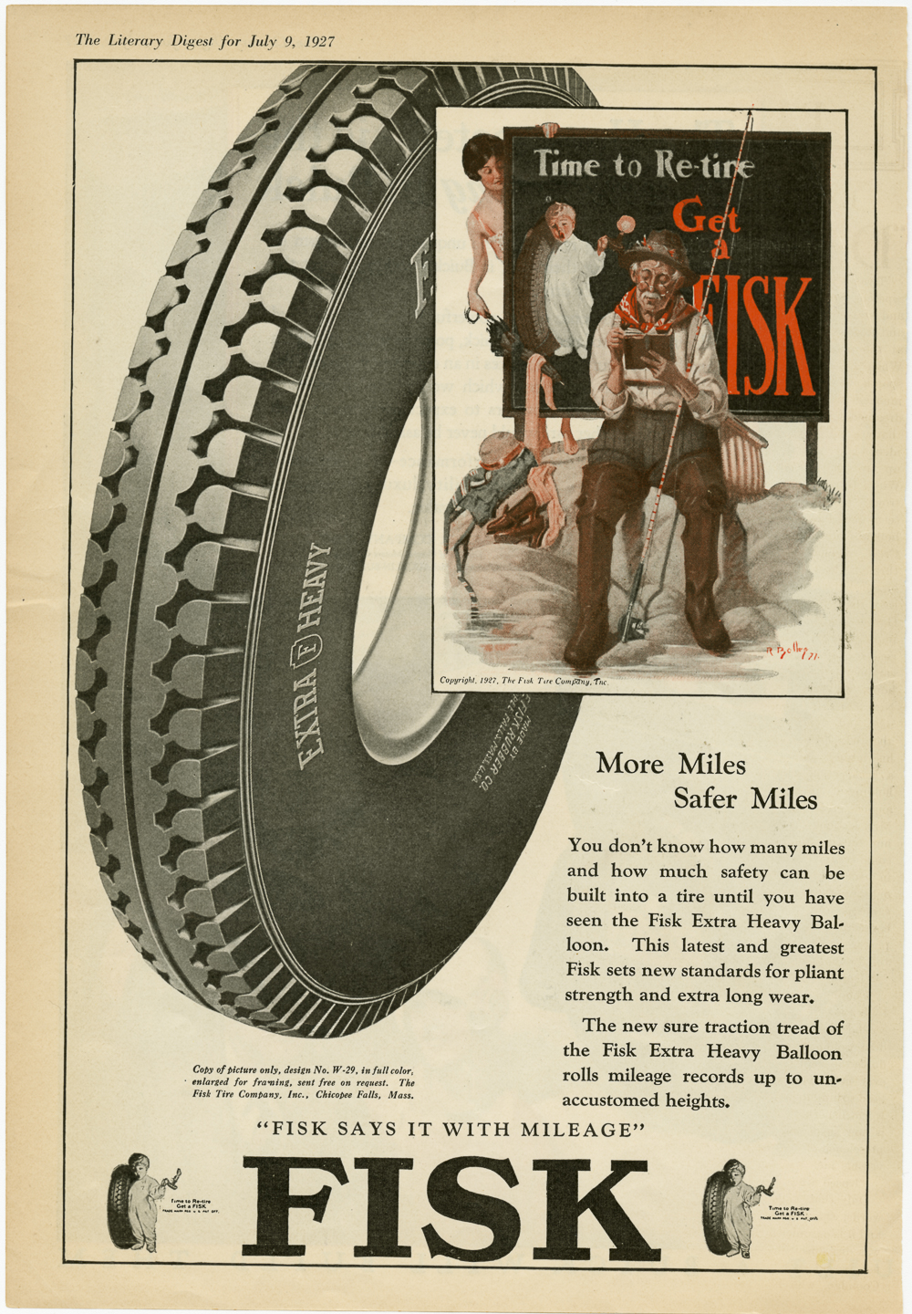 Fisk Tire Company Print Ad - Fisk Says it With Mileage